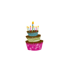 Color big cake party with canddles icon vector