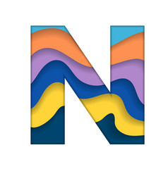 Colorful letter n vector