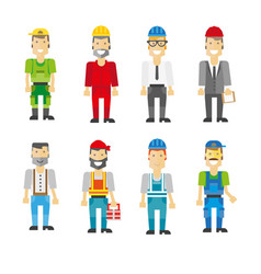Construction workers in helmets and uniforms vector