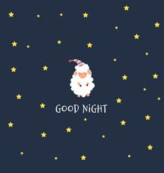 Cute little sheep on the night sky sweet dreams vector