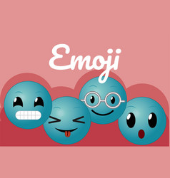 Cute round emojis cartoons vector