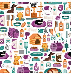 Decorative seamless pattern on pets care thematic vector