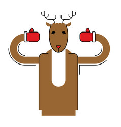 Deer santa isolated christmas animal beast for vector