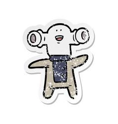 Distressed sticker of a friendly cartoon alien vector