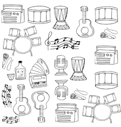 Doodle of music on white backgrounds vector image