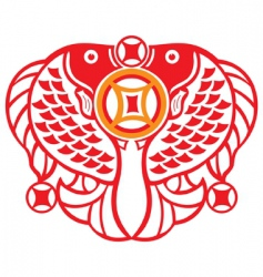 double fish Oriental symbol vector image