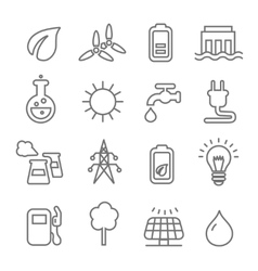 Ecology line Icons wind nuclear and solar power or vector