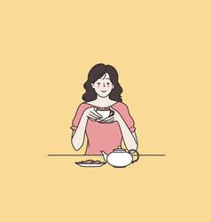 enjoying tea drinking ceremony concept vector image