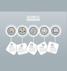five steps infographics design and marketing vector image