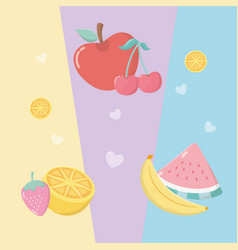 fresh and tropical fruits vector image
