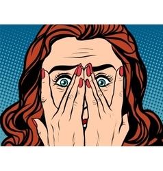 Frightened shocked girl vector image