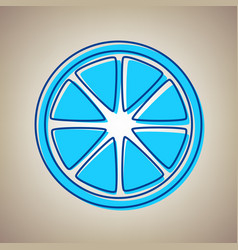 Fruits lemon sign sky blue icon with vector