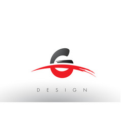 G brush logo letters with red and black swoosh vector