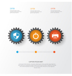 Gadget icons set collection of defense printing vector