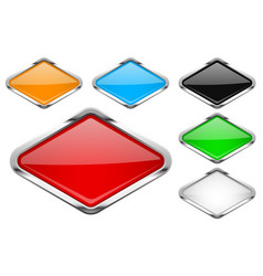 Glass buttons with chrome frame colored set of vector