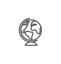 globe line icon on white background vector image