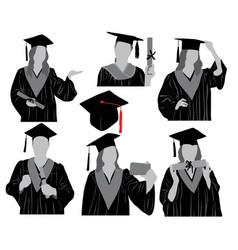 graduates silhouette vector image