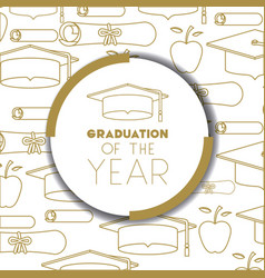 Graduating lettering card with hat graduation vector