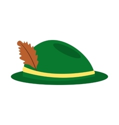 Green hat with a feather icon vector image