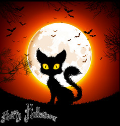 halloween background a cat vector image