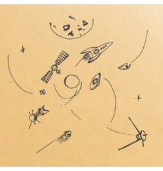 hand drawn of planets ans space objects vector image