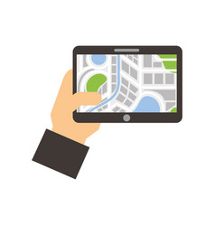 hand holding tablet with city map navigator vector image