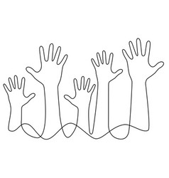 Hands one line drawing vector