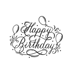 happy birthday lettering inscription with air vector image
