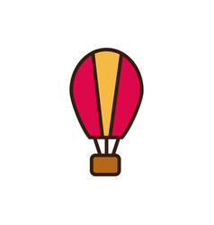 Hot air balloon line and fill design vector