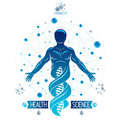 Human athlete depicted as dna symbol continuation vector