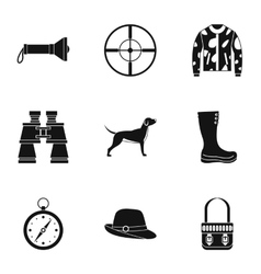 Hunting of animals icons set simple style vector