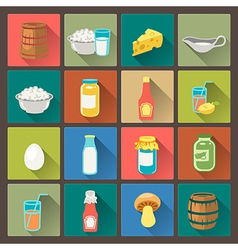 icons farm food in flat design style vector image