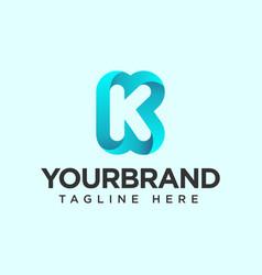 k shape gradient icon logo design element template vector image
