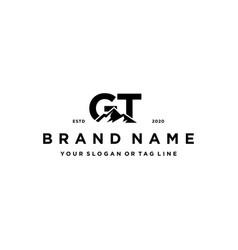 Letter gt mountain logo design vector