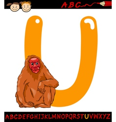 Letter u for uakari cartoon vector
