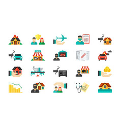 Life insurance icon set private business vector