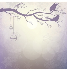 Light winter background with silhouette branch vector