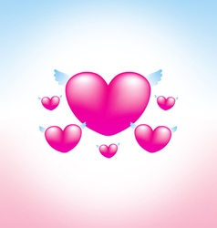 Love heart pink background 2 vector image