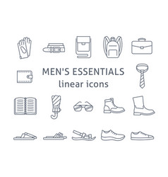 men accessories and shoes flat line icons vector image