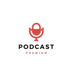 mic podcast logo icon vector image
