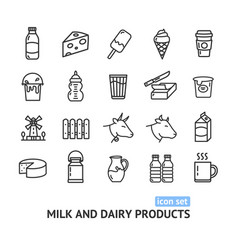 milk dairy products signs black thin line icon set vector image