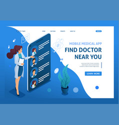 Mobile app to search for doctors nearby with you vector