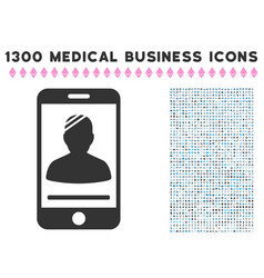 mobile patient icon with 1300 medical business vector image vector image