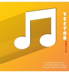 Music note Flat modern web button with long shadow vector image