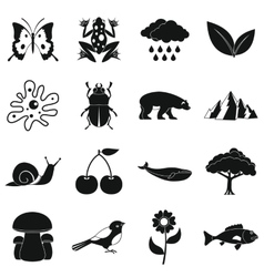Nature items icons set simple style vector