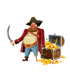 Old pirate with one leg and hook and saber guards vector