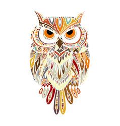 Ornate owl zenart for your design vector