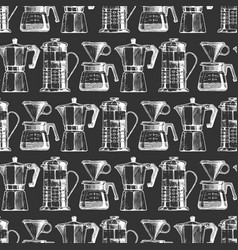 Pattern with vintage coffeemaker vector