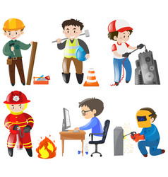 people working different jobs vector image