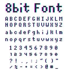 pixel retro font 8-bit alphabet vector image
